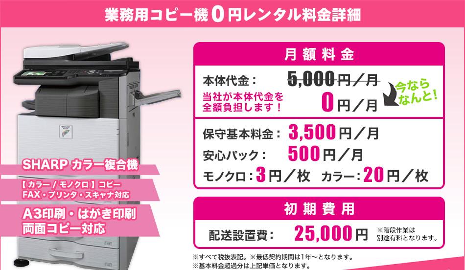 0円レンタル料金詳細
